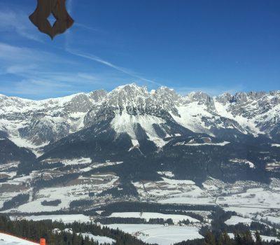 Blick auf den wilden Kaiser in der Ski Welt Elmau